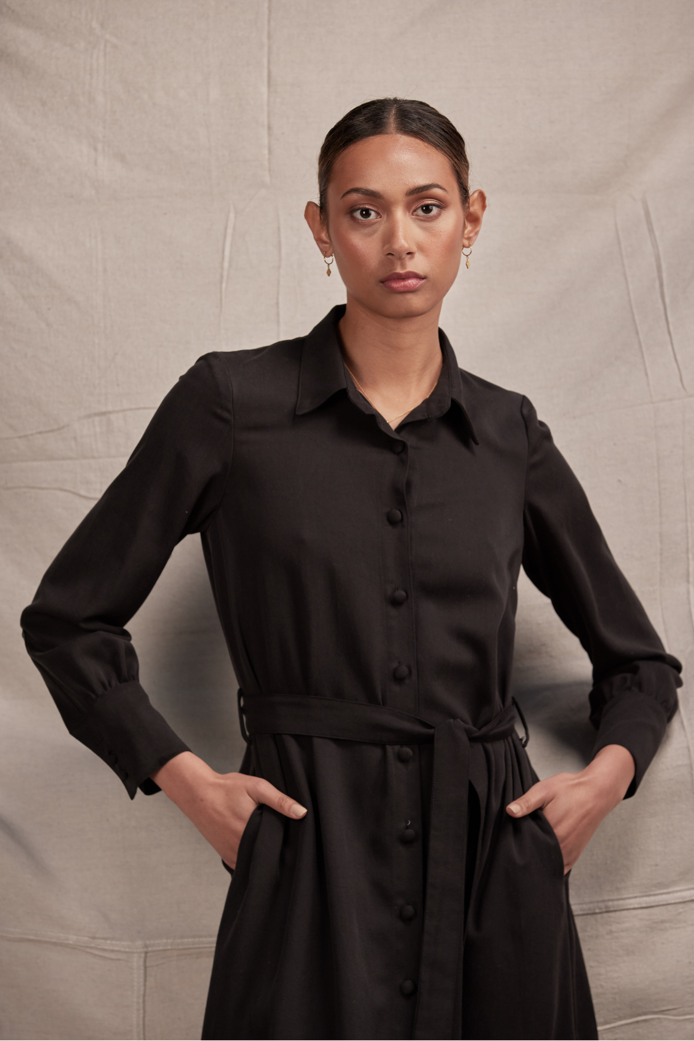 Carmela Shirt Dress | Black