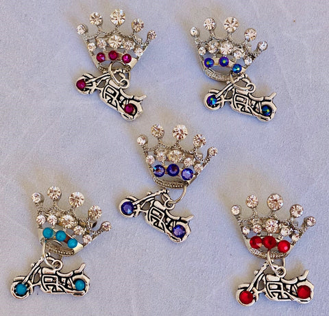 Motorcycle Princess Crown Pins