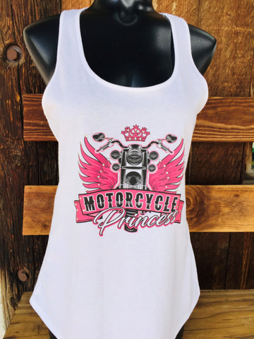 Motorcycle Princess White Tank Top
