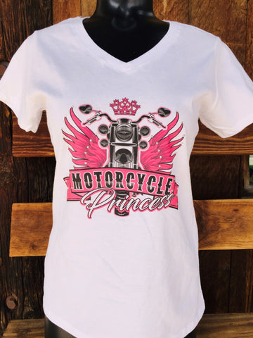 Motorcycle Princess V-neck Short Sleeve Tee