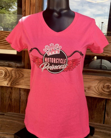Motorcycle Princess V-neck Short Sleeve Tee - Pink