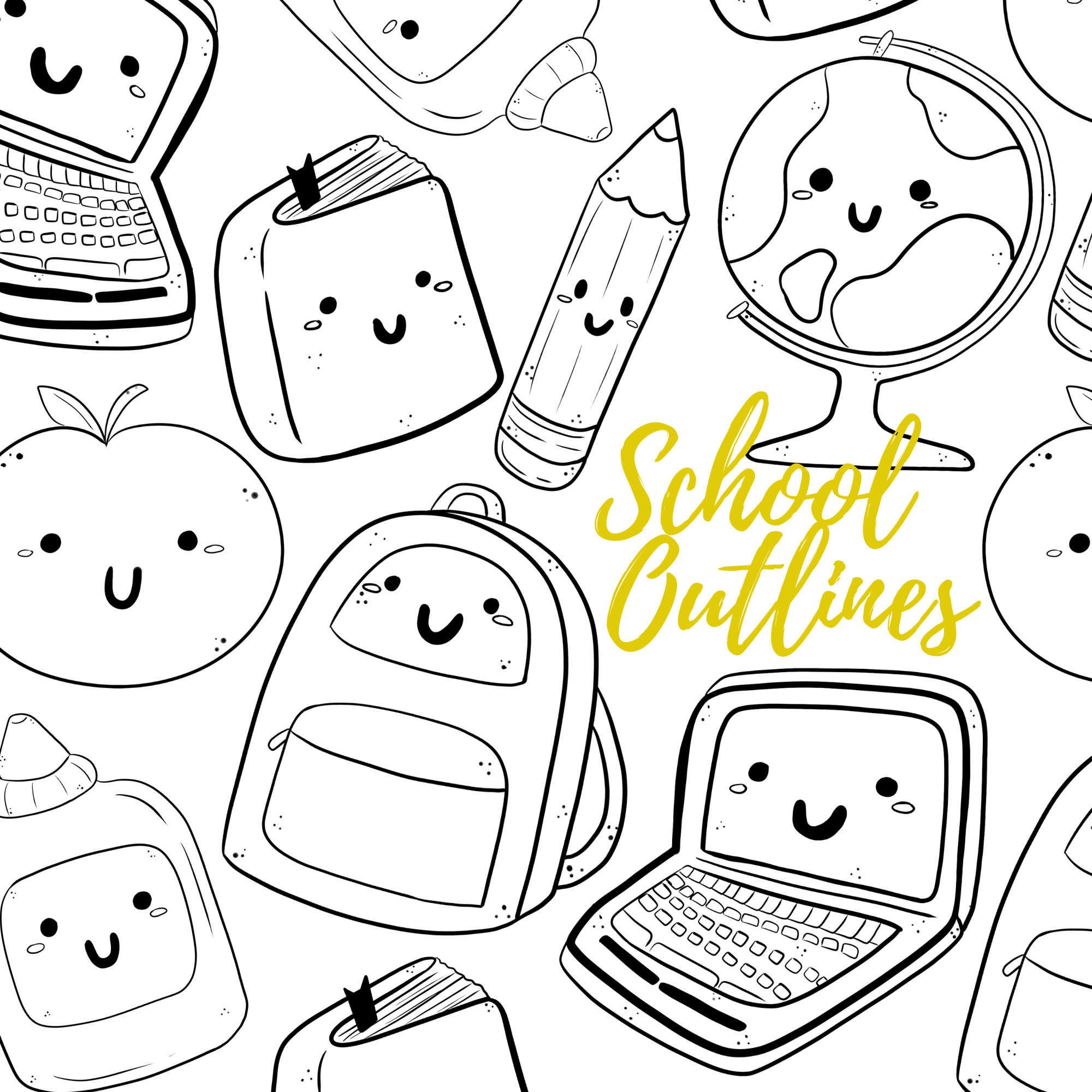 Digital back to school doodle clipart