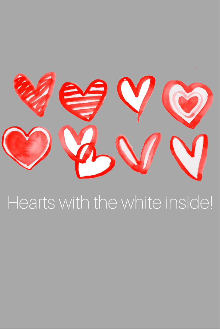 Red Hearts Watercolor Clipart