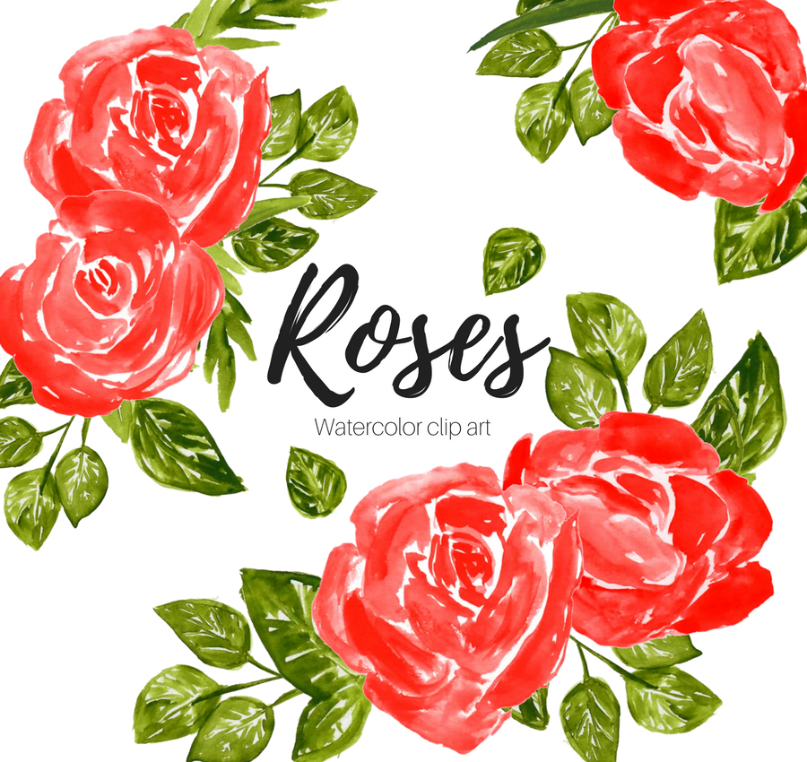 Red roses watercolor clipart