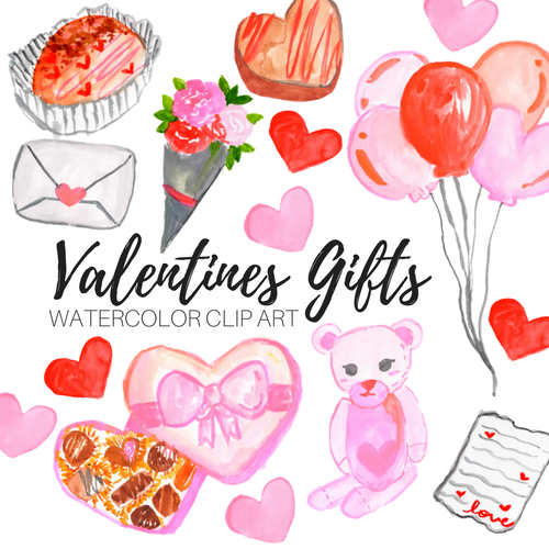 Valentines day gift clipart set