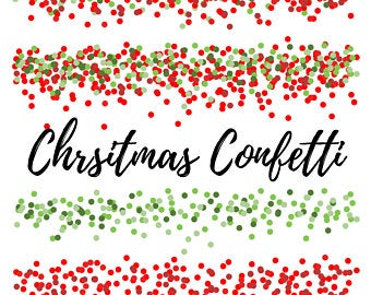 Christmas red and green confetti clipart
