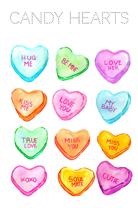 Valentines Candy Hearts Clipart Set