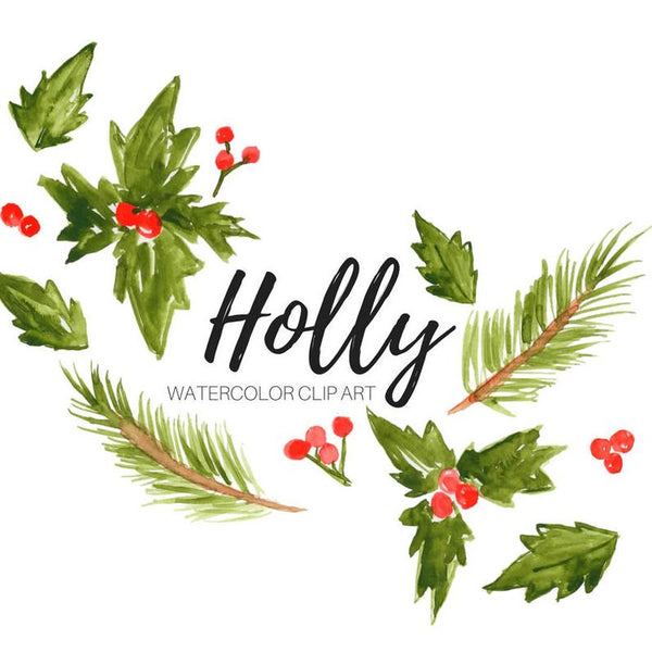 Christmas floral holly clipart