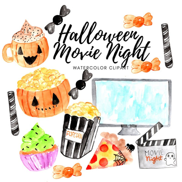 Halloween movie night clipart