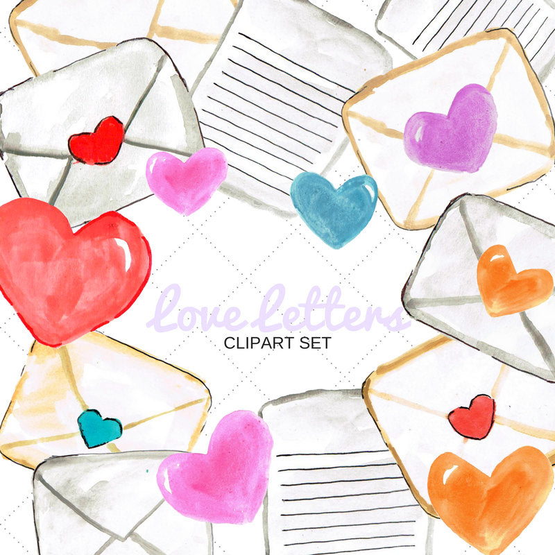 Valentines love letter clip art