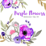 Purple and white watercolor flower clip art