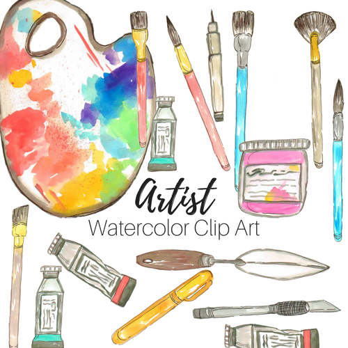 Watercolor Art Supplies Clip Art