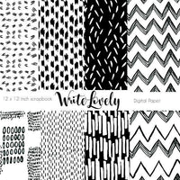 Black and white doodle scrapbook paper