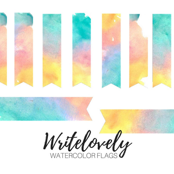 Rainbow Watercolor Flags
