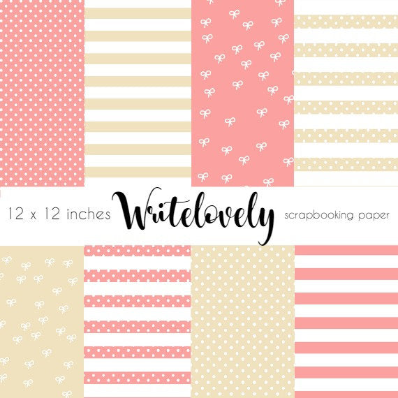 Pink babyshower girl digital paper