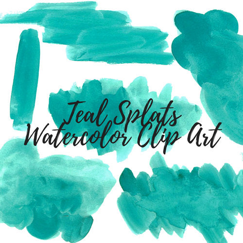 Teal watercolor splash clip art