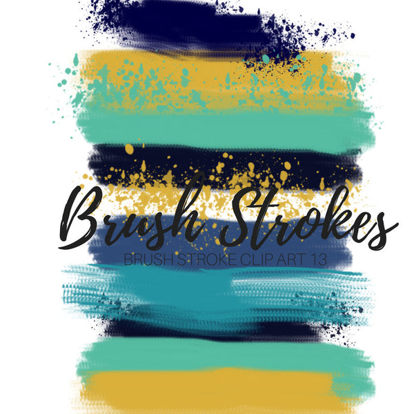 Brush Stroke Clip Art - Dark Blue, Mustard Yellow, Blue