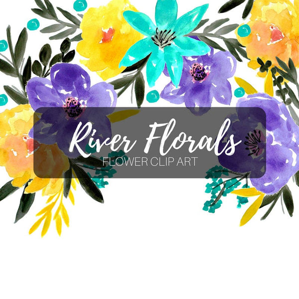 Blue river blue and yellow floral clip art