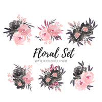 Pink and Black Floral Bouquet clip art