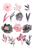 Pink and black floral clip art