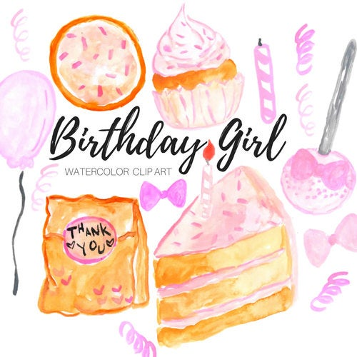 pink birthday girl clipart