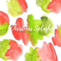Christmas red and green watercolor blob clipart