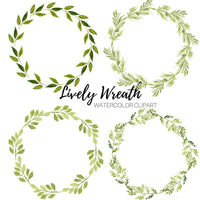 Green lively Floral Wreath Clip Art