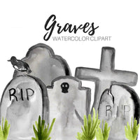 Halloween tombstone graves clipart,
