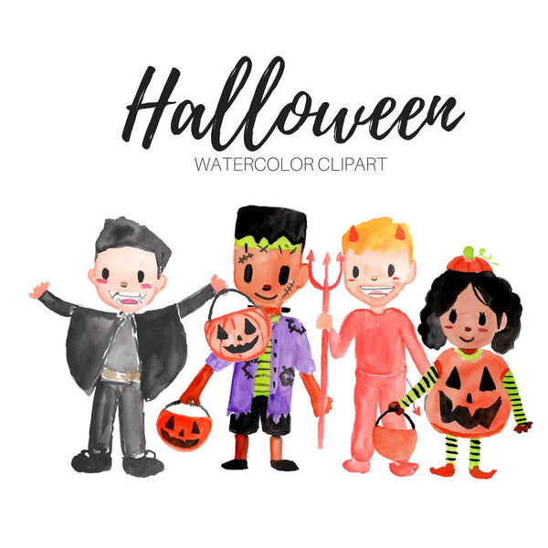 Halloween trick or treaters clipart