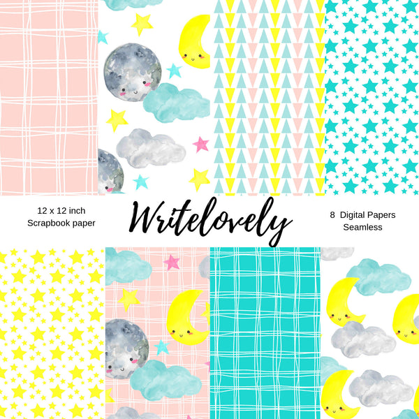 Seamless nursery star and moon digital scrapbook paper