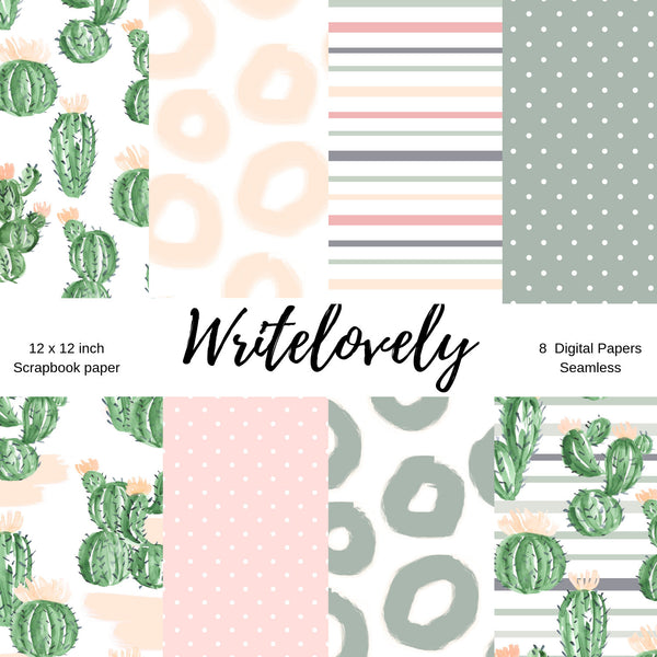 Seamless cactus succulent digital paper - scrapbook paper - commercial use