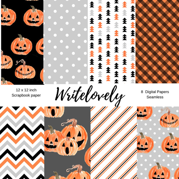Seamless pumpkin halloween digital paper