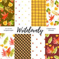 Seamless autumn fall leaves digital scrapbook paper