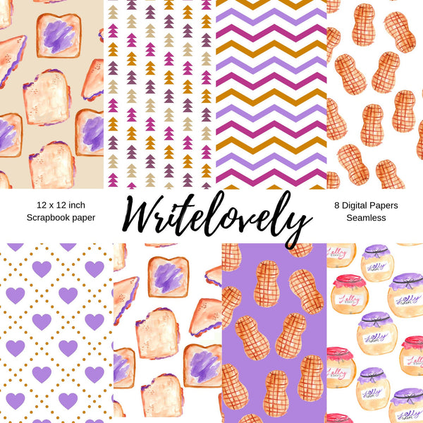 Seamless peanut butter and jelly digital scrapbook paper