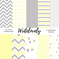 Seamless yellow and gray baby shower scrapbook paper