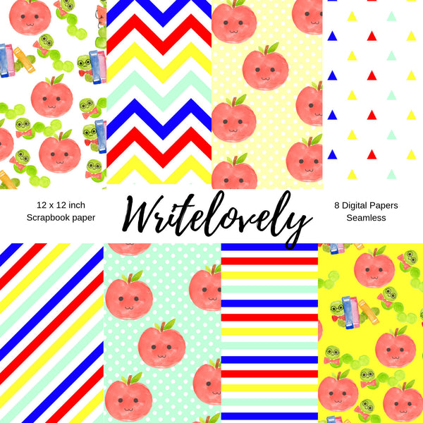Seamless back to school scrapbook paper