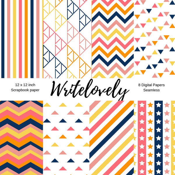 Seamless  summer theme blue pink and yellow scrapbook paper pack