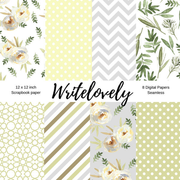 Seamless White Floral digital paper