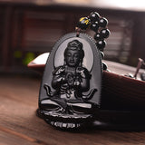Black Obsidian Carved Buddha Lucky Amulet Pendant Necklace For Women