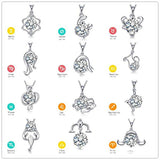 Elegant Silver Plated Crystal Zodiac Constellation Pendant Necklace for Women