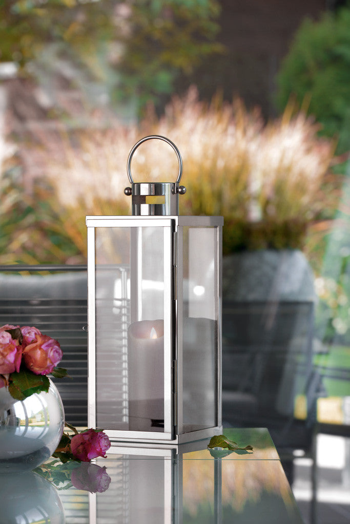 home + lantern made of stainless steel - rustproof, weatherproof - in different sizes (flat)