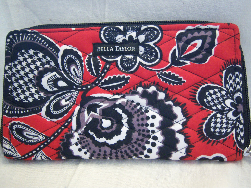 BELLA TAYLOR CARMINE RED/BLACK  ZIP TO IT WALLET