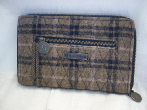 BELLA TAYLOR CARRINGTON BROWN PLAID ZIP WALLET!