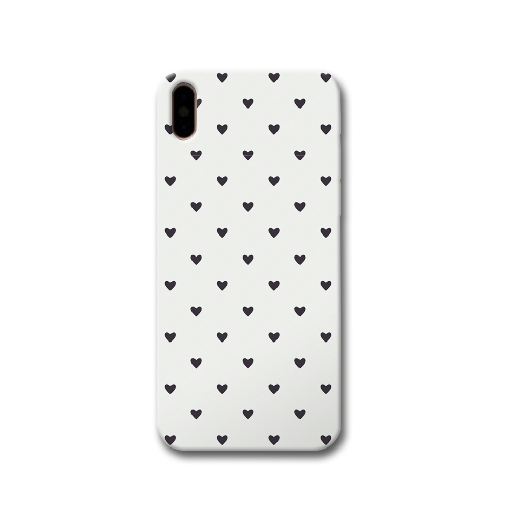 Black Heart Pattern Apple iPhone X Case