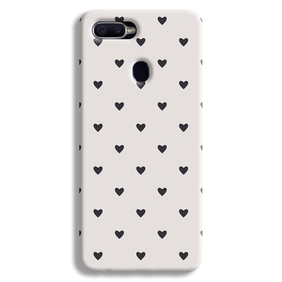 Black Heart Pattern Oppo F9 Case