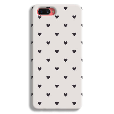 Black Heart Pattern Oppo A3s Case