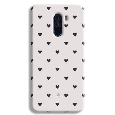 Black Heart Pattern POCO F1 Case