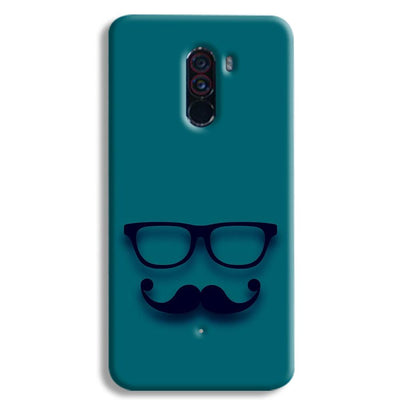 Cute mustache Blue POCO F1 Case