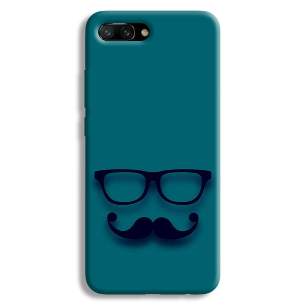 Cute mustache Blue Honor 10 Case