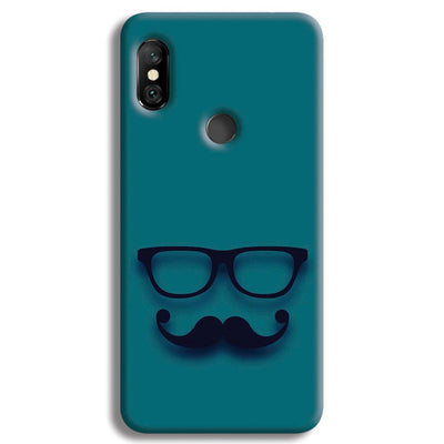 Cute mustache Blue Redmi Note 6 Pro Case